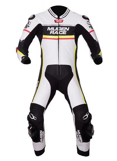 MUGENRACE, fato pele racing LS1-1703 branco/preto/amarelo fluo