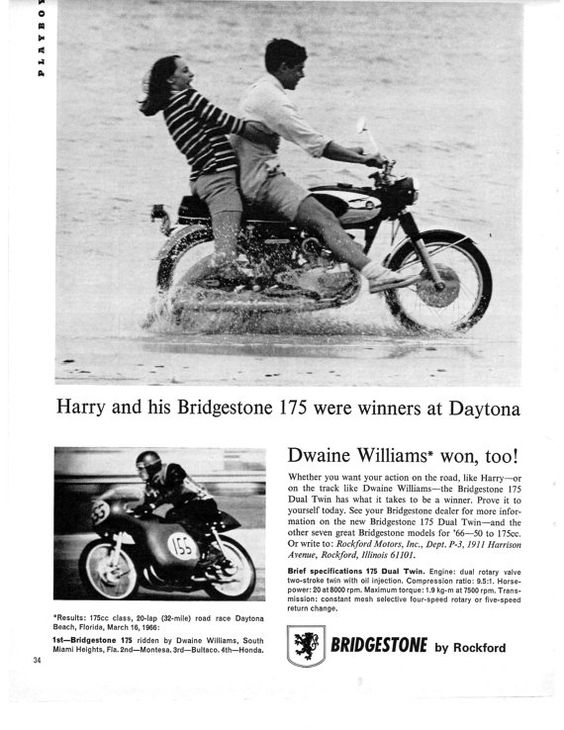 BRIDGESTONE, anuncio 1966 'Harry and his Bridgestone were winners at Daytona - Dwaine Williams won, too!'