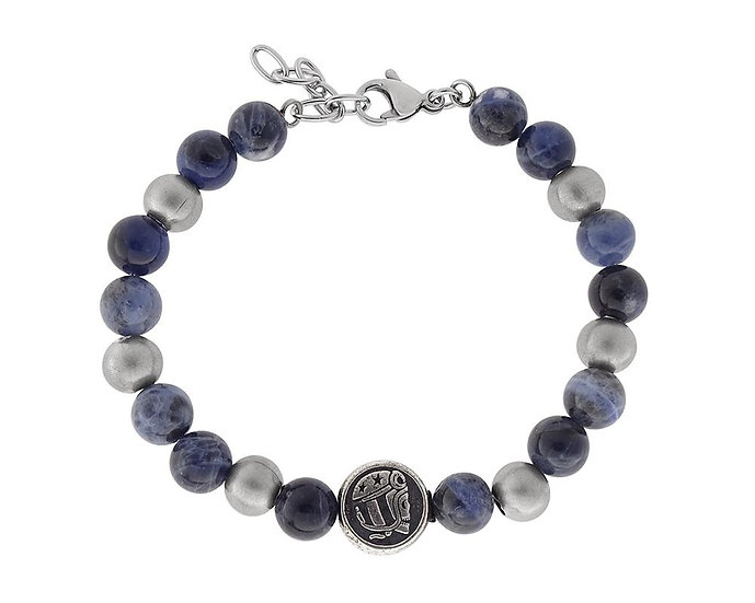 SKULL RIDER, Spheres bracelet with logo and lobster claw