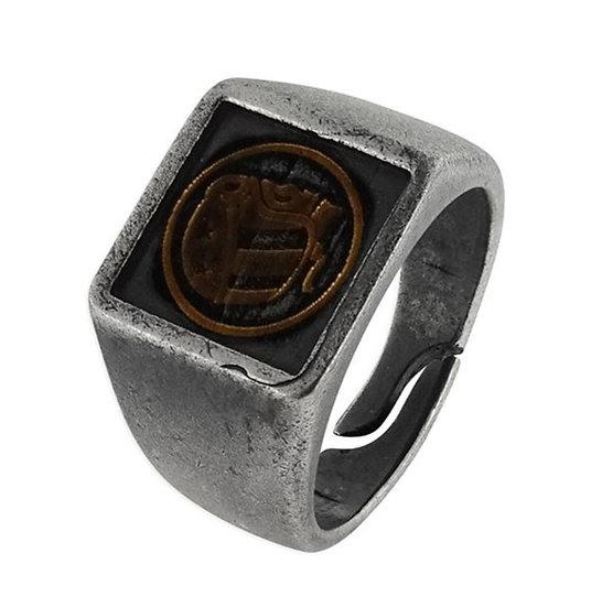 SKULL RIDER, Skull Rider Flat Logo Steel and Bronze Squared Ring