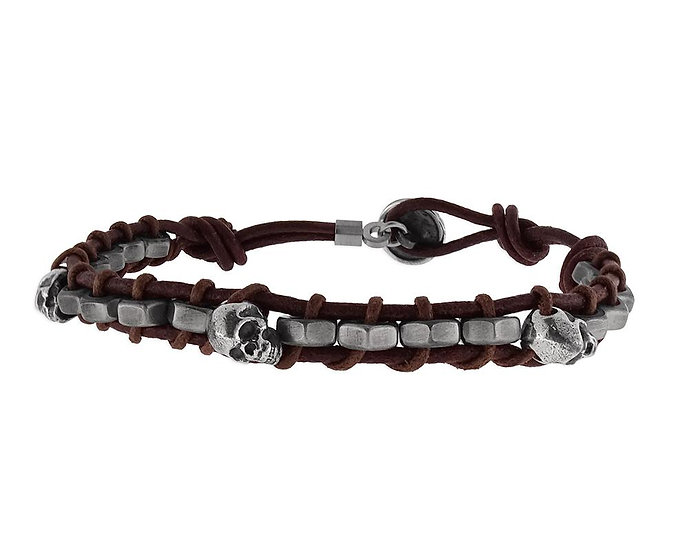 SKULL RIDER, Leather and Steel Bracelet with Skulls