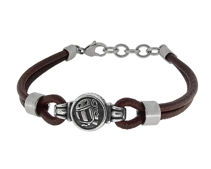 SKULL RIDER, Leather Bracelet with Logo and Lobster Claw