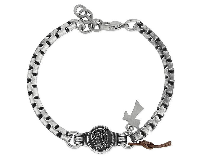 SKULL RIDER, Steel bracelet with logo and cross