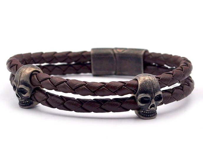 SKULL RIDER, Brown Leather Bracelet