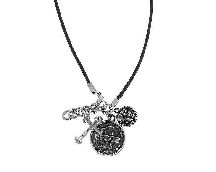 SKULL RIDER, Pendant with logo and steel coin