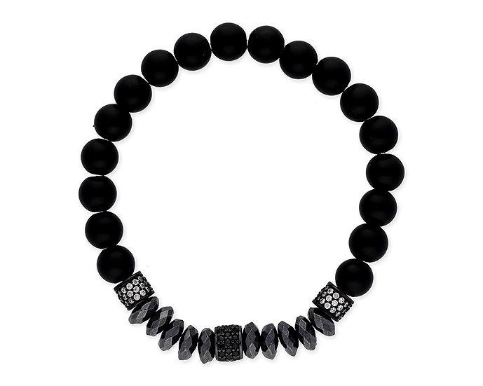 SKULL RIDER, Bracelet of Onyx Balls, Hematite and Circonites