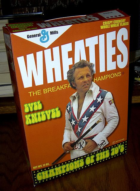 Evel Knievel, cereal box