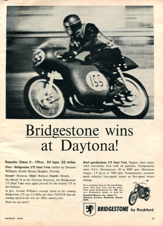 BRIDGESTONE, anuncio 1966 'Bridgestone wins at Daytona!'