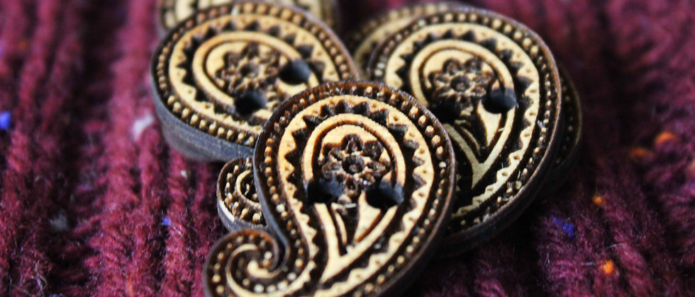 Paisley Wooden Buttons