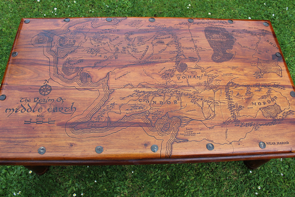 Lord of the Rings Wood Burned Table Pyrography Tolkien The Hobbit Pin Legs Wood
