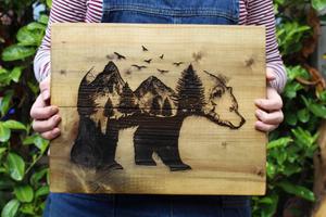 hipster bear wall art wooden