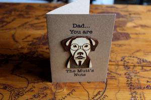wooden greeting card special card quirky father's day card dog card hipster dog mutt's nutts rude card