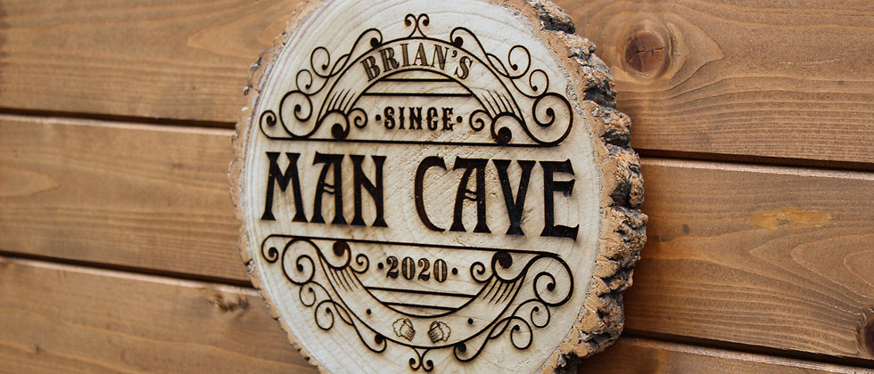 Personalised Man Cave Log Slice