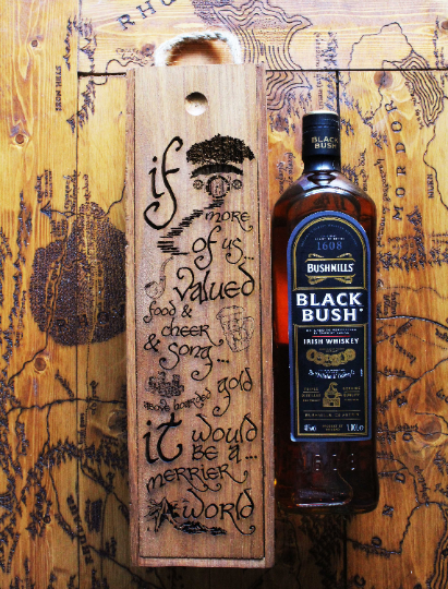 If More Of Us Valued Food and Cheer and Song Above Hoarded Gold It Would Be A Merrier World Quote Lord of the Rings Whisky Whiskey Wine Drinks Box Display Case Wood Burning Pyrography