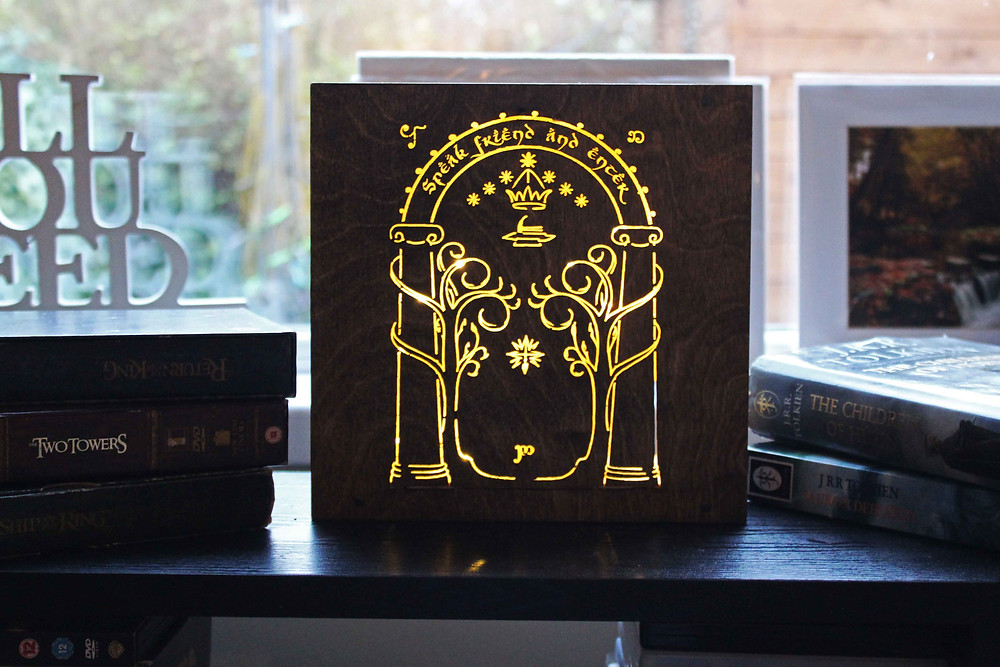 Lord of the Rings Light Box Tolkien Gift Wood Engraving Laser Rustic Pyrography Night Light