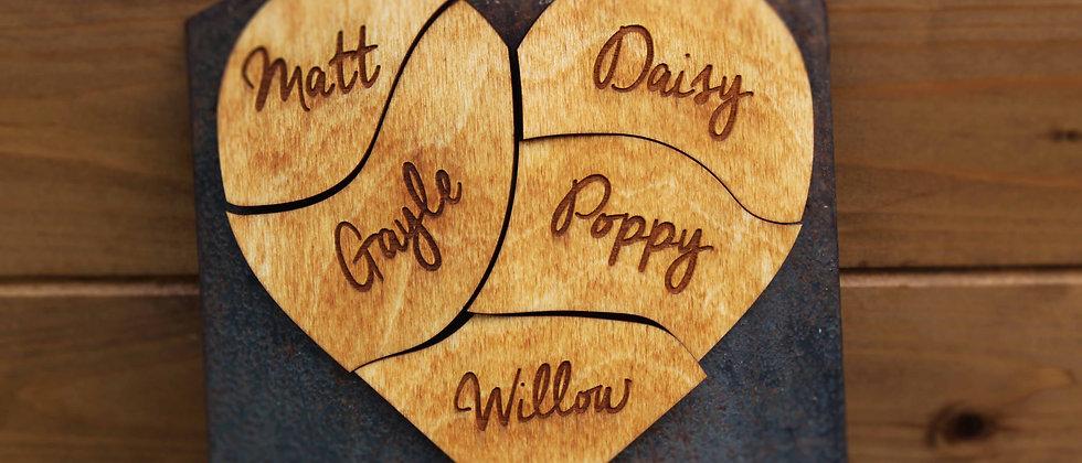 Wodden Family Heart of Magnets