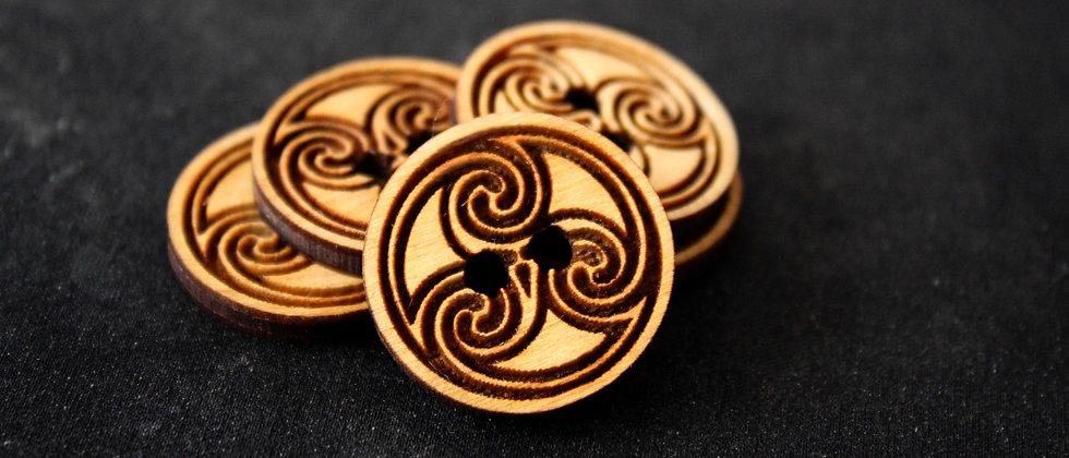 Celtic Triskelion Wooden Buttons