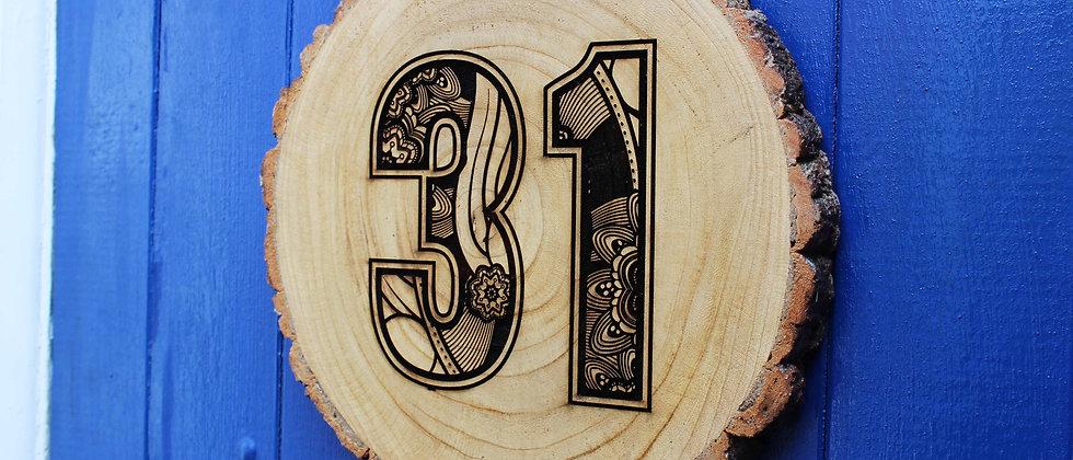 House Number Log Slice