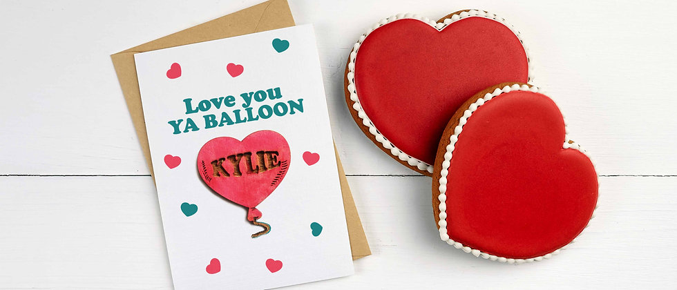 Card with Personalised Balloon Magnet