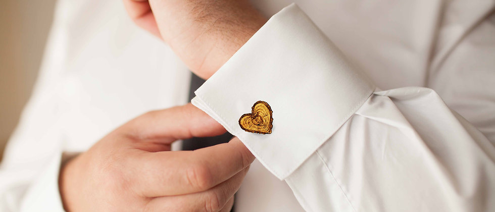 Log Heart Cufflinks