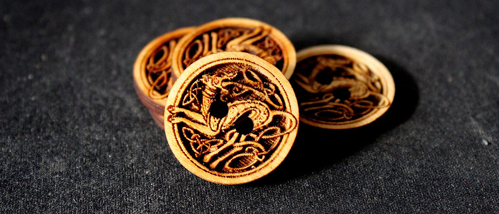 Celtic Dog Wooden Buttons