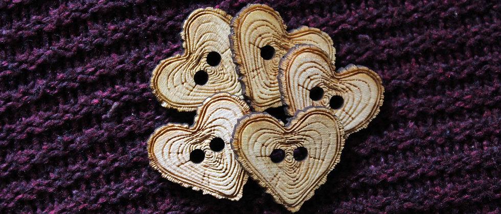 Heart Wooden Buttons