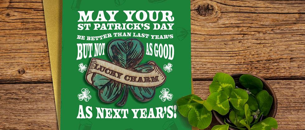 St Patrick's Day Card and Wooden Magnet