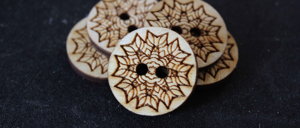 Geometric Leaf Wooden Buttons