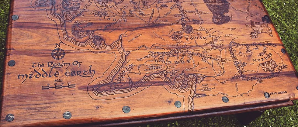 Middle Earth Map Coffee Table