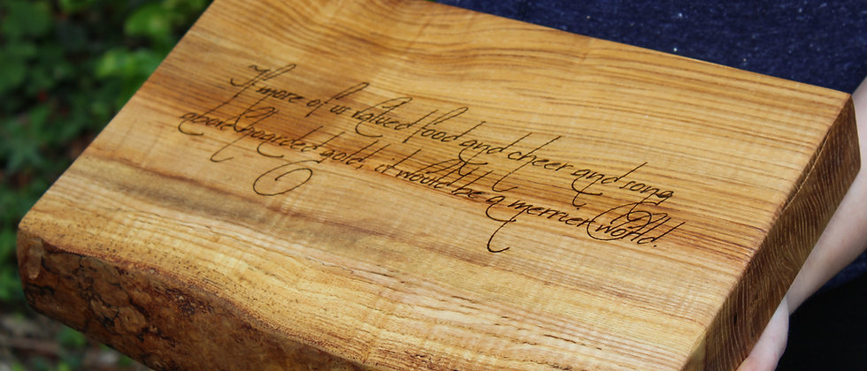 Large Ash Chopping Block - with Tolkien Quote