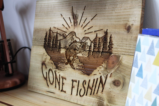 Gifts for Fishing Father's Day Gone Fishin' art wood