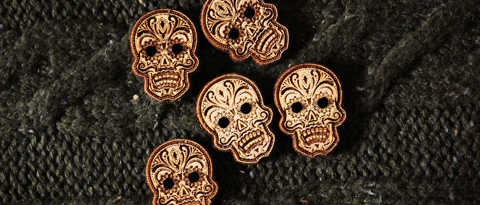 Sugar Skull Wooden Buttons