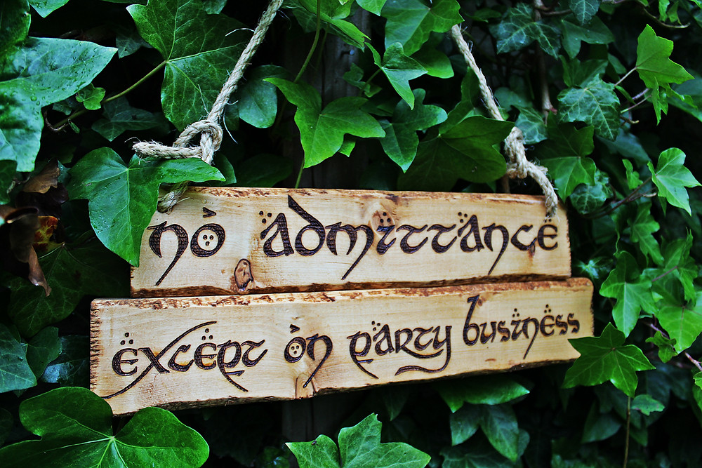 Bilbo's Sign No Admittance Except on Party Business Lord of the Rings