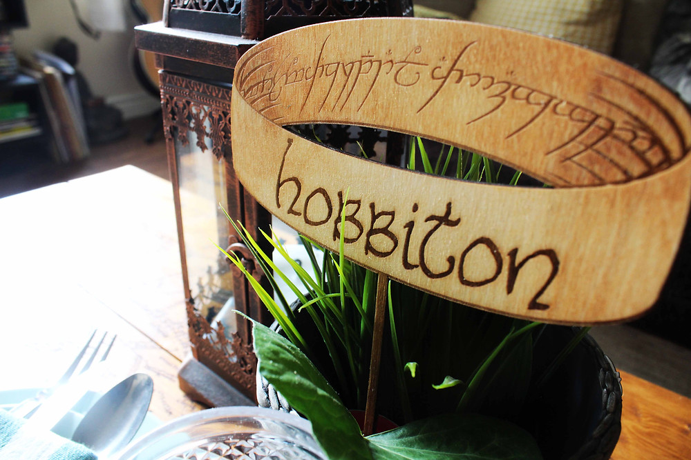 Rustic Wedding Table Name with Lord of the Rings The One Ring Pyrography Wood Burned