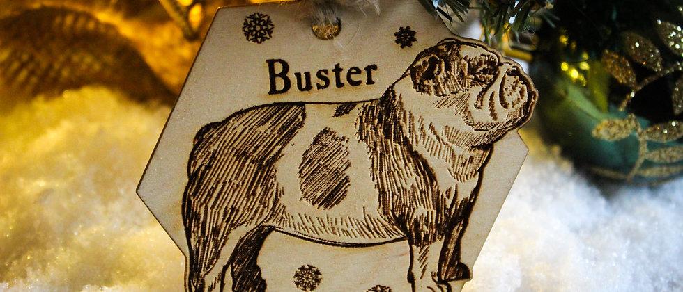 Bulldog Christmas Bauble