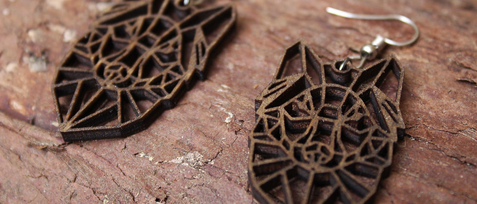 Geometric Wolf Earrings