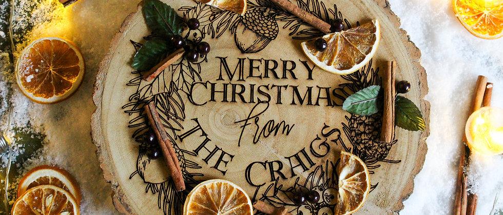 Personalised Christmas Log Slice