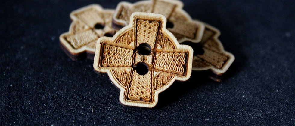 Celtic Cross Wooden Buttons