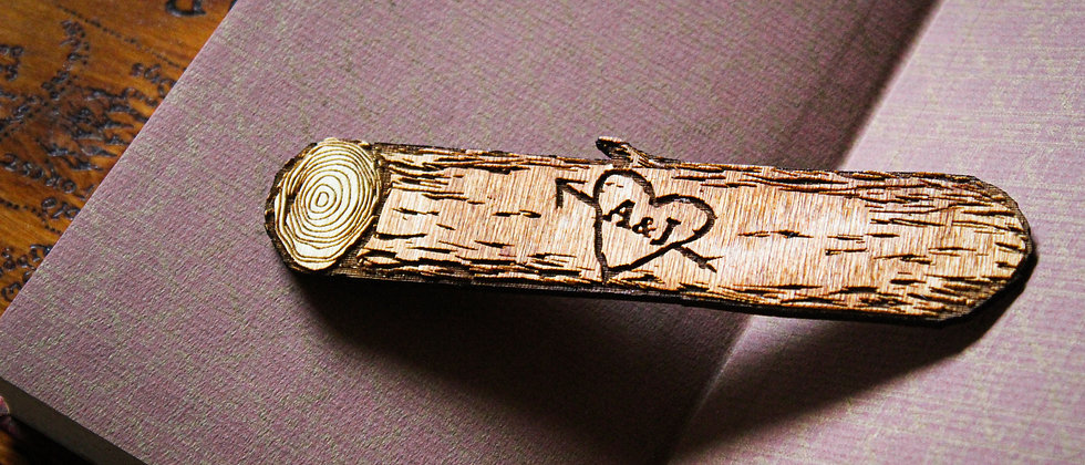 Initials On Heart Log Bookmark