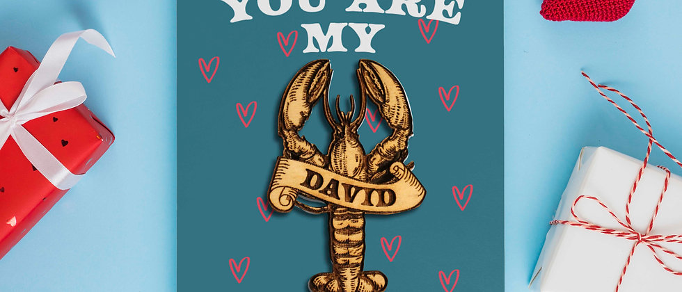 Lobster Valentine's Card with Personalised Magnet