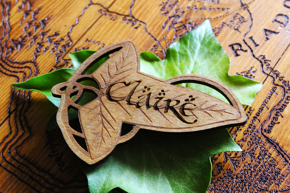 Lord of the Rings Lorien Leaf Wedding Place Settings Rustic Wood Burned Place Names for Tolkien Themed Weddings