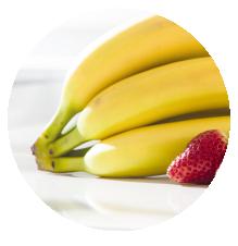 Frutas banana y frutilla