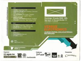 Flyer for 16th June 2002, vessel @ versus electronics, Barcelona