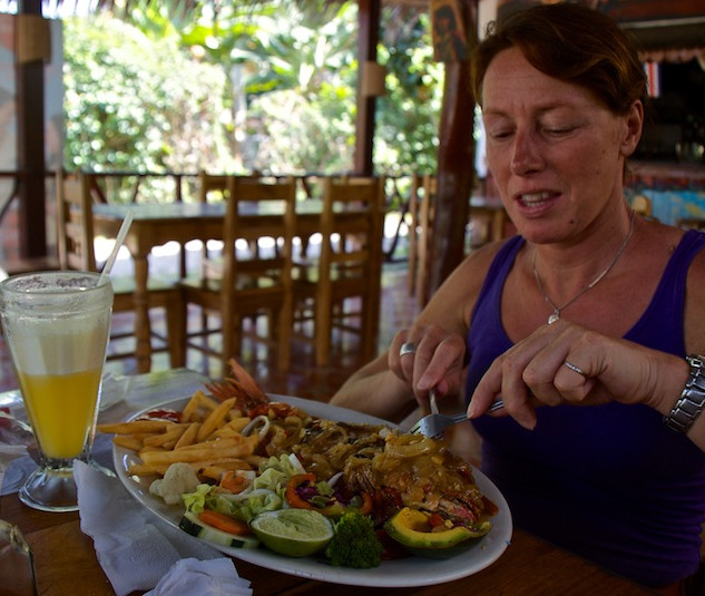 Costa Rica, Cahuita; Hannie with a huge Red Snapper