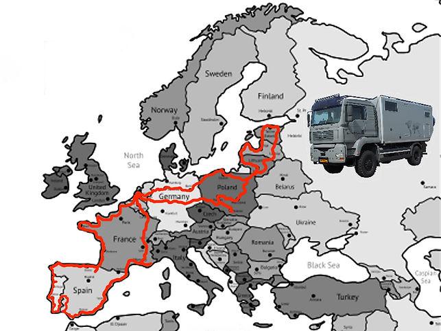 Afbeelding route JP en Hannie in Europa 2016/2017