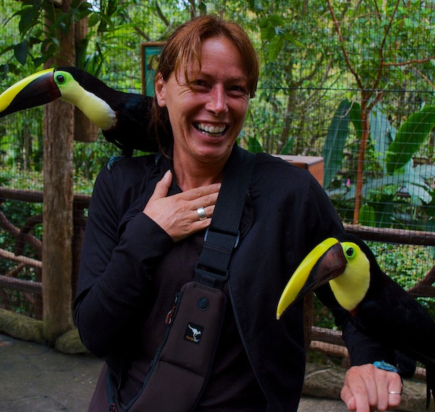 Costa Rica, La Paz Waterfall Gardens: Hannie with Toucans