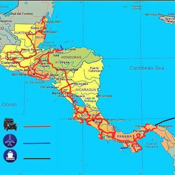 Afbeelding route van JP en Hannie in Centraal Amerika