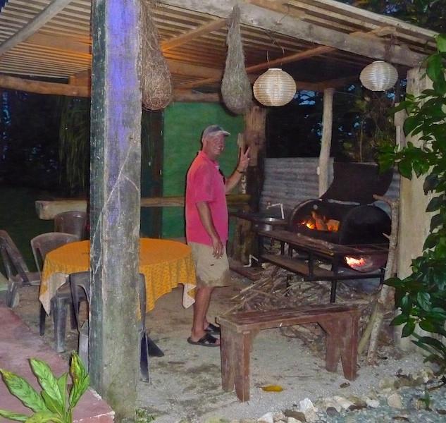 Costa Rica, Cahuita; Camping Maria, the BBQ man