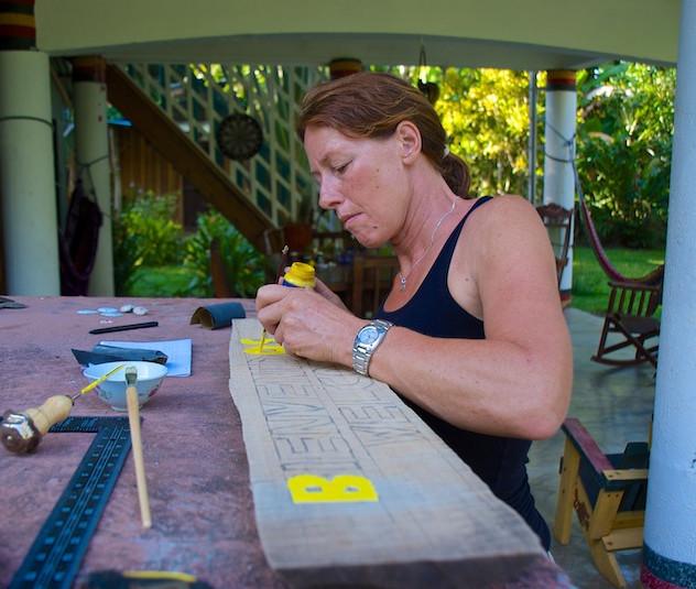 Costa Rica, Cahuita; Camping Maria, the creative woman