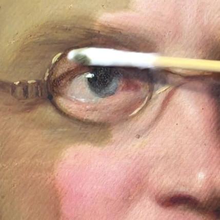 Abnahme des stark vergilbten Firnisses auf einem Portrait von 1835.